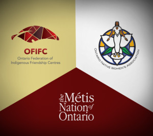 Logos for OFIFC, Ontario native women's association and the metis of ontario